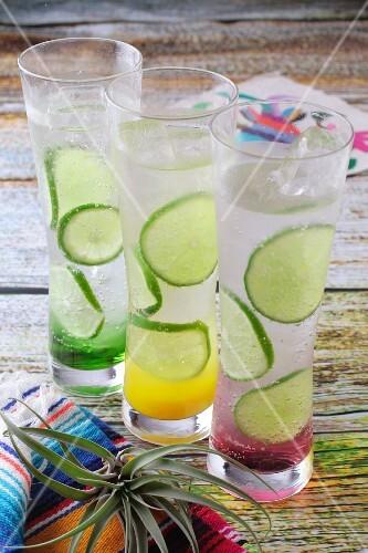 Three fruity Margaritas