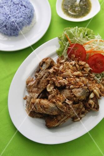 Fried catfish with garlic