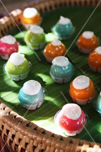 Colourful coconut snacks