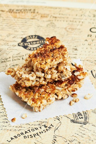 A stack of muesli with nuts