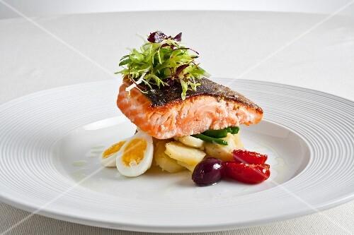 Salmon fillet on a nicoise salad