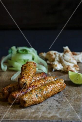 Seekh kebabs (minced meat skewers, India)