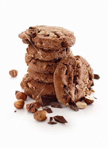 A stack of chocolate and hazelnut cookies