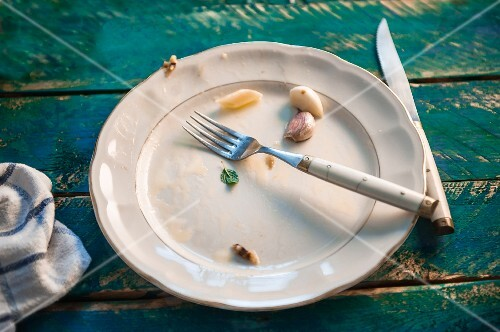 Remains of food on an empty plate