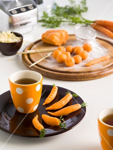 Marzipan carrots and tea