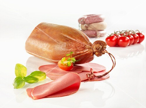 Cervelat sausage, partially sliced