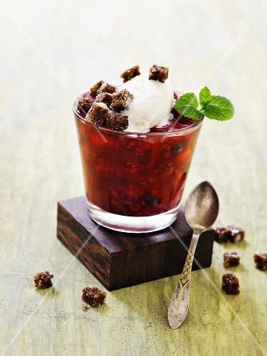 Red berry jelly with vanilla ice cream