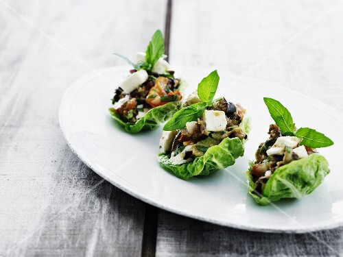 Grilled vegetables wrapped in lettuce leaves