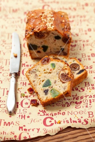 Fruit cake with candied fruit for Christmas