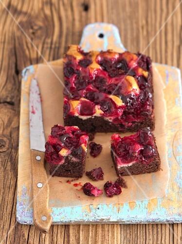 Chocolate and vanilla sponge cake with cherries