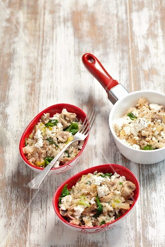 Rice with mushrooms, leeks and feta cheese