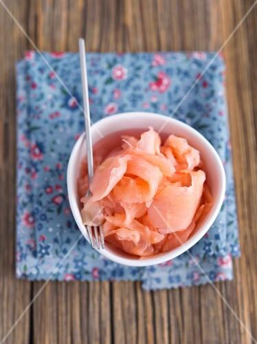 A bowl of pickled ginger (gari)