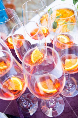 Aperol in wine glasses