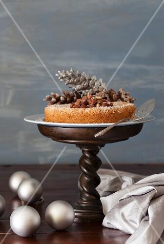 French hazelnut meringue cake for Christmas