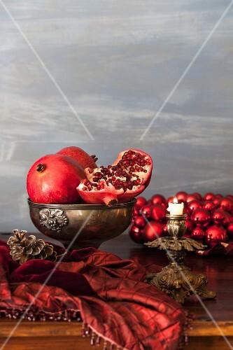 Pomegranates on a Christmas table