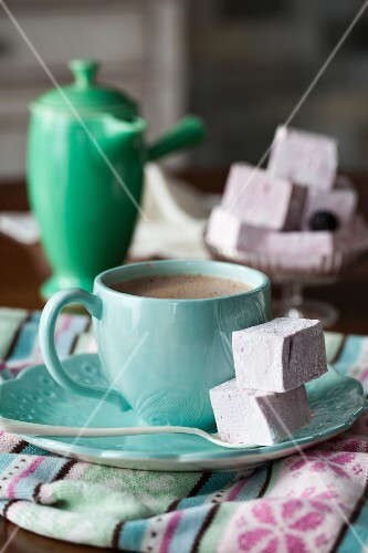 Hot chocolate and blackberry marshmallows
