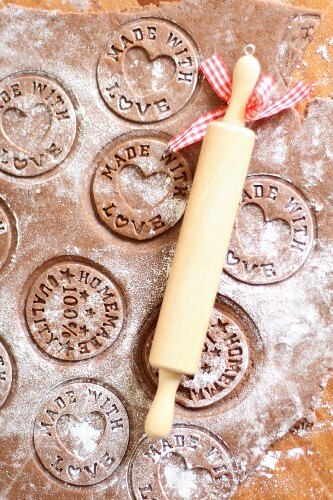Stamped biscuit dough with a rolling pin