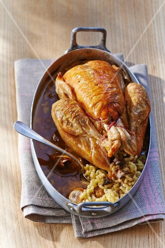 Chicken with a pasta and foie gras stuffing, France