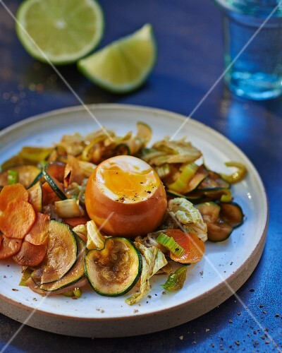 Oven-roasted vegetables with soft-boiled egg