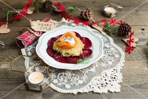 Potato cakes with smoked salmon, dill, creme fraiche and beetroot carpaccio for Christmas