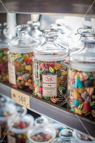 Jars of sweets at the Torvehallerne market in Copenhagen