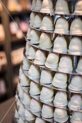 A tower of white-chocolate covered marshmallows at the Torvehallerne market in Copenhagen (detail)