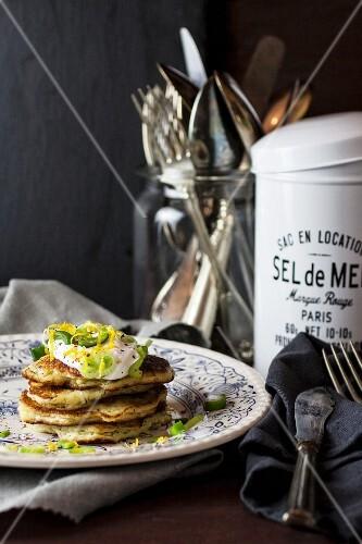Potato pancakes with poached egg