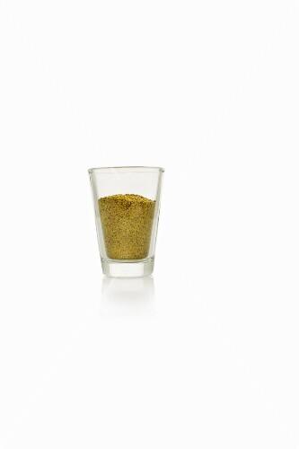 A glass of hemp flour
