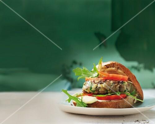 An oyster mushroom burger with lemon aioli