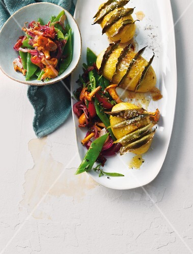 Bay leaf potatoes with a bean and chanterelle mushroom salad