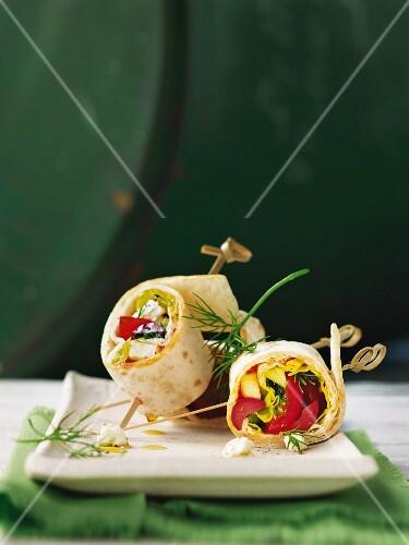 Tortilla rolls with Greek salad