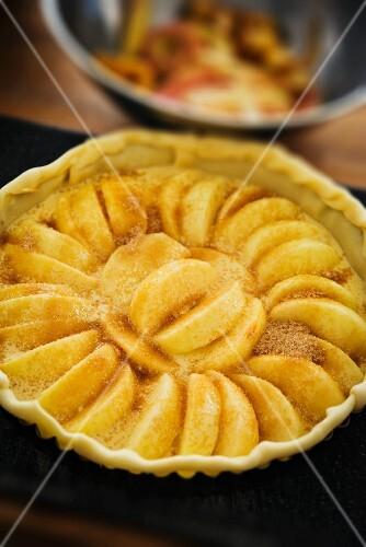 Apple tart with cinnamon sugar, unbaked