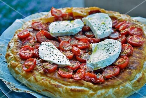 Cherry tomato and mozzarella puff pastry tart