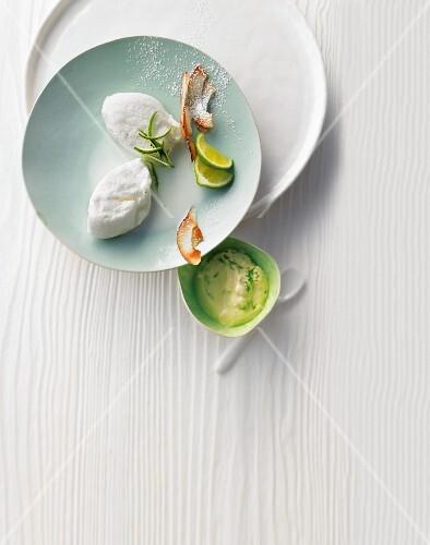 Egg white dumplings on matcha tea and lime cream