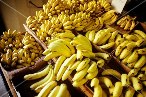 Fresh bananas in boxes at a market