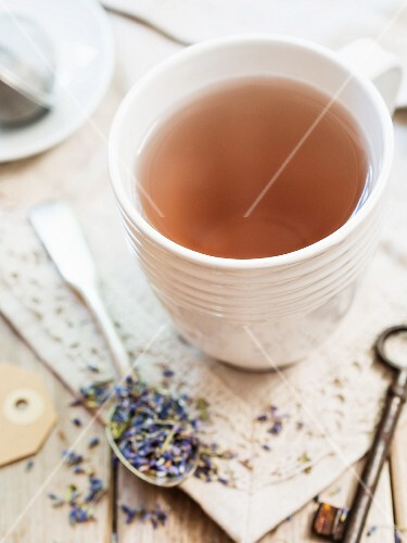 Lavender tea in a white cup