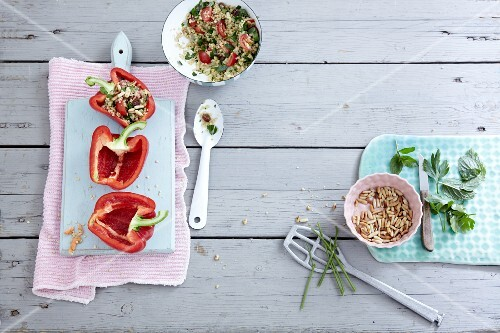 Quinoa salad, stuffed peppers, slivered almonds and herbs