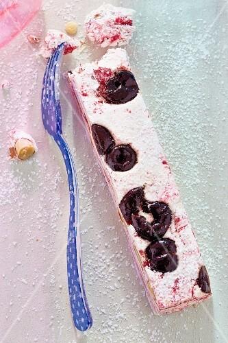 White nougat with cherries