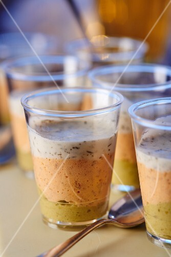Glasses of layered salmon mousse