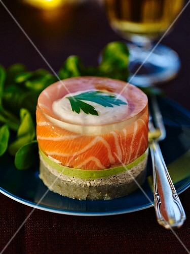 Salmon terrine with poached egg and artichokes