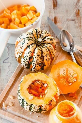 Hollowing out a pumpkin