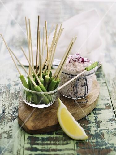 Bean sticks with lumpfish roe cream
