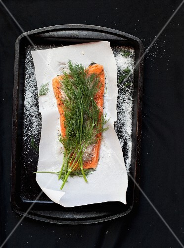 Pickled salmon with salt and dill