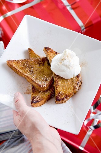 French toast with gingerbread spice and whipped cream for Christmas