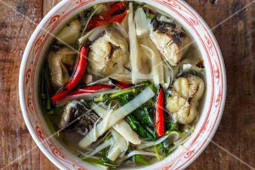 Fish soup with pickled bamboo (Vientiane, Laos)