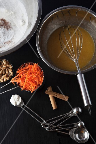 Ingredients for carrot muffins