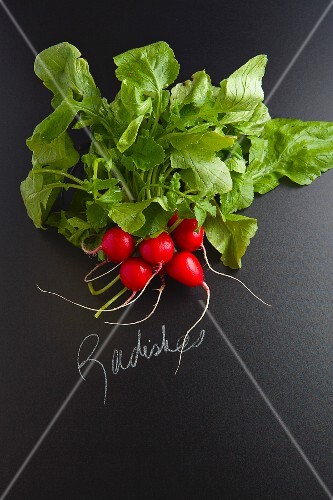 Radishes with a label