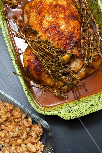 Roast chicken with thyme and a bean dressing