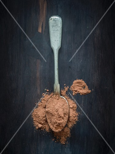 Cocoa powder on a spoon (seen from above)