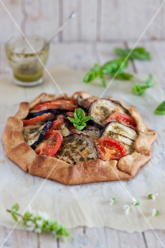 Tomato and aubergine galette with basil